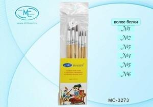 Набор кистей 6 шт: белка №1,2,3,4,5,6 МС-3273 Basir {Китай}