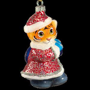 Тигренок в костюме Деда Мороза
