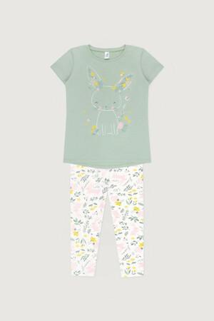 К 1538 Пижама пастельно-зеленый, зайчики в цветах