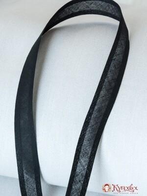 Косая бейка, цв.черный 20мм, хлопок-100%