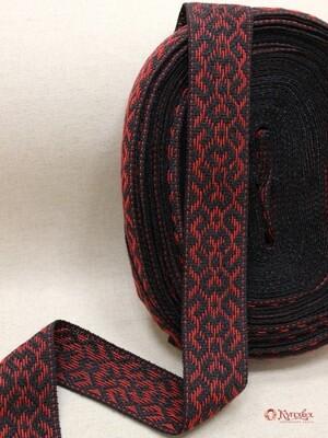 Лента тканая (для поясов 48мм) Красный орнамент на черном