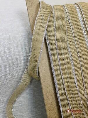 Лента джутовая с металлизированной нитью по краям, 25 мм