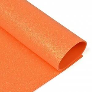 Фоамиран глиттерный 2 мм 20/30 см уп 10 шт MG.GLIT.H046 цвет оранжевый