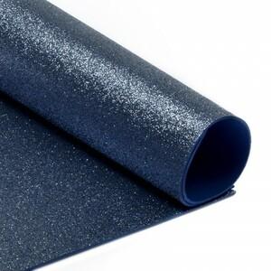 Фоамиран глиттерный 2 мм 20/30 см уп 10 шт MG.GLIT.H021 цвет темно-синий