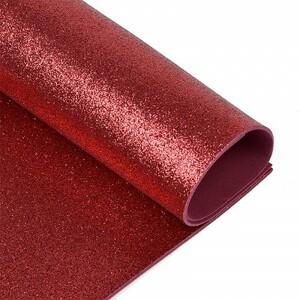 Фоамиран глиттерный 2 мм 20/30 см уп 10 шт MG.GLIT.H025 цвет темно-вишневый