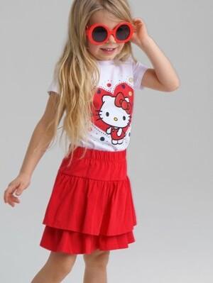 Комплект трикотажный для девочек: фуфайка (футболка), юбка