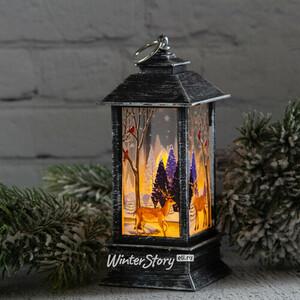 Новогодний фонарик со свечой Сказки зимнего Леса 13 см винтажно-серебряный (Koopman)