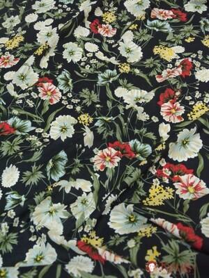 Штапель Осенние цветы на черном, 1.45 м, вискоза-100%В ОТРЕЗАХ
