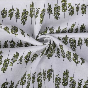 Ткань на отрез муслин 135 см 7361/1 Веточки