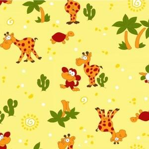 Ткань на отрез фланель 75 см 5185/3 Жираф цвет желтый