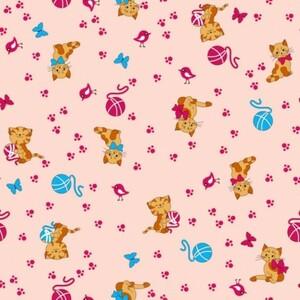 Ткань на отрез фланель 75 см 5318/3 Пушистые котята цвет розовый