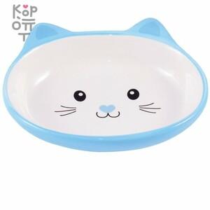 КерамикАрт миска керамическая для кошек 160 мл Мордочка кошки голубая