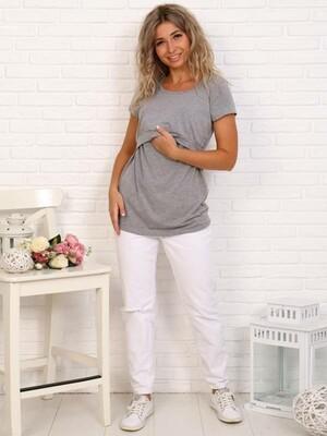 Арт. Ф15032 Футболка для беременных и кормящих с планкой цвет серый меланж
