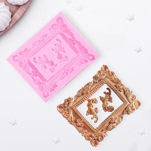 Молд силиконовый «Рамка, лепнина», 9,5×11,5 см, цвет МИКС