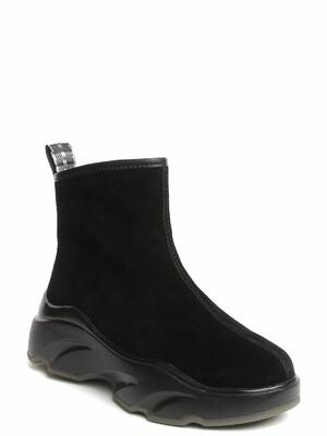 192287-2-210W ботинки  жен. зимн. натуральная кожа (спилок)/натуральная шерсть /термоэластопласт черный Milana