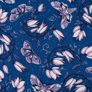 Ткань на отрез кулирка R4147-V4 Цветы на синем