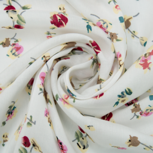 Ткань на отрез штапель 150 см D033 Цветы на белом