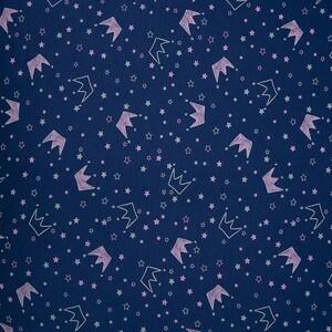 Ткань на отрез кулирка 2298-V13 Короны на синем