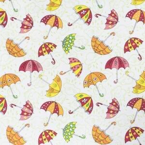 Ткань на отрез фланель белоземельная 90 см 653-3П Зонтики