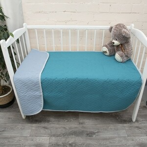Покрывало детское ультрастеп двухстороннее цвет изумруд-св.голубой 105/150