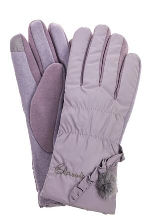 Перчатки женские зимние с мехом, цвет серый