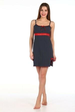 Ночная сорочка № 306а чёрный с красным