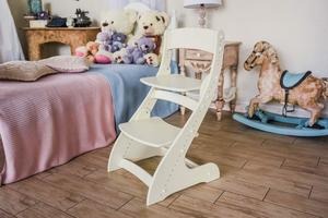 Растущий стул Павлин - Слоновая кость, Деревянный