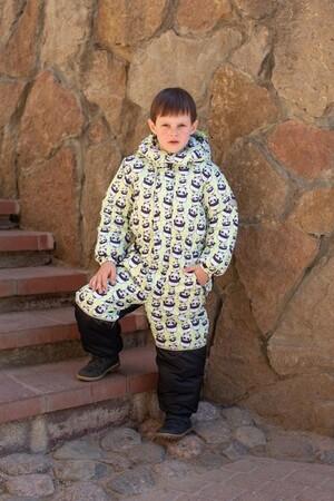 Детский Зимний Комбинезон Ньюскул расцветка Панды Салат