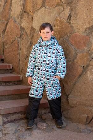 Детский Зимний Комбинезон Ньюскул расцветка Панды Бирюза
