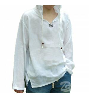 Хлопковая тайская рубашка с капюшоном Cotton White Shirt With Hood Style