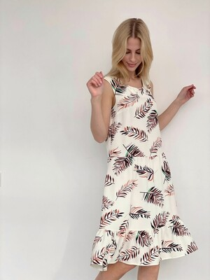 4061 Платье белое с веточками