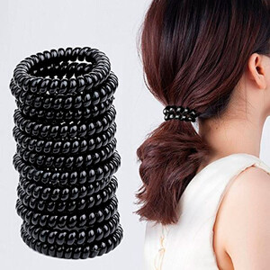 Набор 10 шт. Резинка-пружинка для волос, ЧЕРНАЯ Ø2,5см
