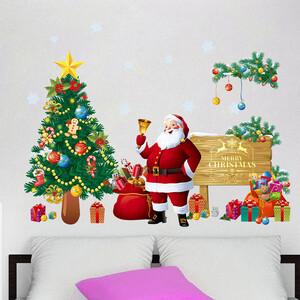 Наклейка многоразовая интерьерная  «Санта, Ёлка, Подарки» 67*51 см (1585)