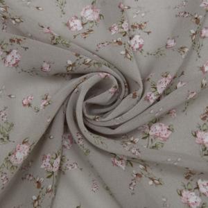 Ткань на отрез шифон 150 см 2414 Букетики цвет капучино