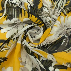 Ткань на отрез шифон 150 см 2284 Тропики цвет желтый
