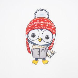 Нашивка Пингвиненок в красной шапке бегающие глазки 20*10см
