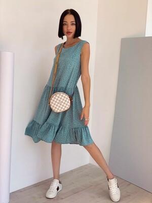 4371 Платье ярусное голубое в горошек