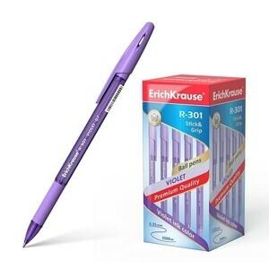 Ручка шариковая (Erich Krause) R-301 VIOLET 0 7 (резиновая вставка) (тонированный фиолетовый корпус) фиолетовая