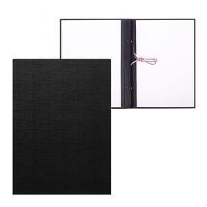 Папка для дипломных работ (Без надписи), бумвинил, гребешки/сутаж, без бумаги, цвет черный (вместимость до 300 листов)