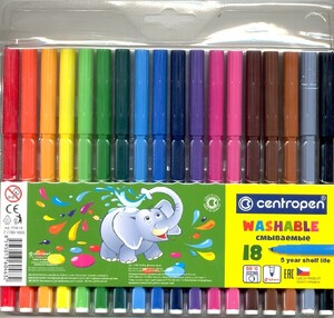 Фломастеры Набор 18 цветов CENTROPEN смываемые (вентилируемый колпачок) (п/упаковка с европодвесом)