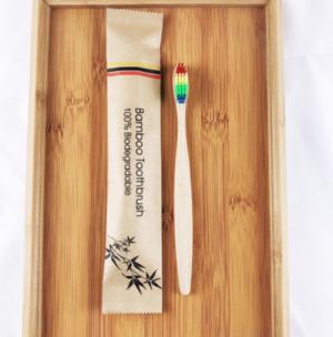 Зубная щетка бамбуковая плоская в крафтовой упаковке (2352)