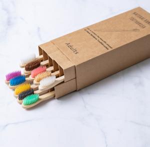 Зубная щетка бамбуковая плоская в упаковке 10 шт. (2377)