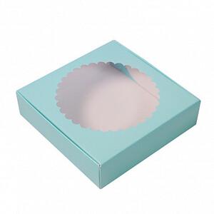 Коробка для печенья 12*12*3 см, Голубая с окном