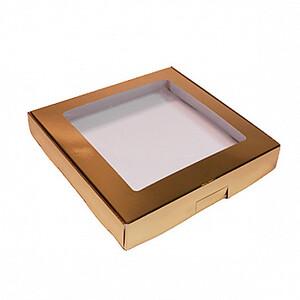 Коробка для печенья 19*19*3 см, Золотая с окном