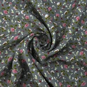 Ткань на отрез штапель 150 см 20015 Розовые цветы на сером