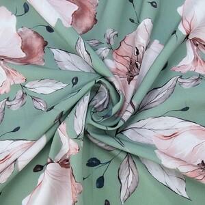 Ткань на отрез ниагара 150 см D0807-1 Крупный цветок на зеленом