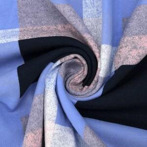 Ткань на отрез кулирка R5155-V3 Клетка цвет голубой