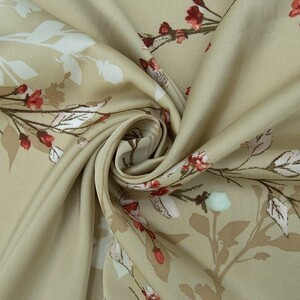 Ткань на отрез шелк 150 см D1807 Цветы на бежевом