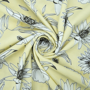 Ткань на отрез кулирка 2382-V1 Цветы на жёлтом