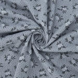 Ткань на отрез кулирка 2351-V4 Цветы на сером